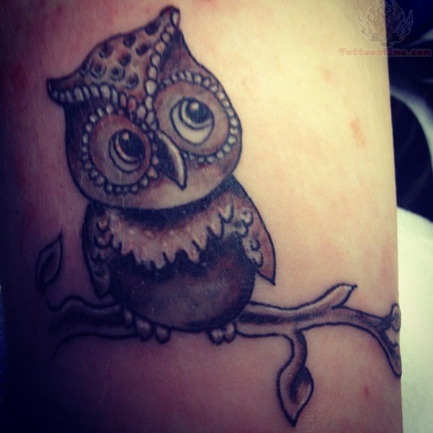 Owl Sitting on Tree Tattoo