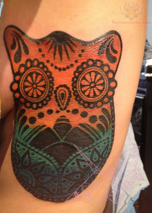Owl Sugar Skull Tattoo Chest Owl Sugar Skull Tattoo