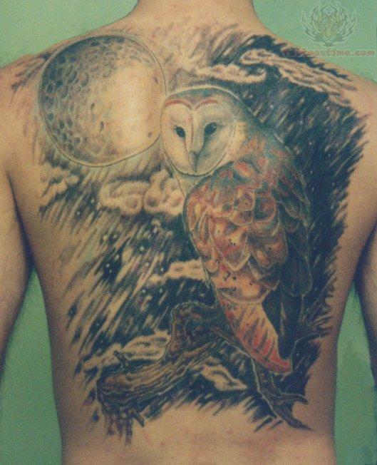 Owl Body Owl Tattoo on Full Back Body