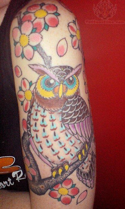 pink flowers and owl tattoo on half sleeve. Black Bedroom Furniture Sets. Home Design Ideas