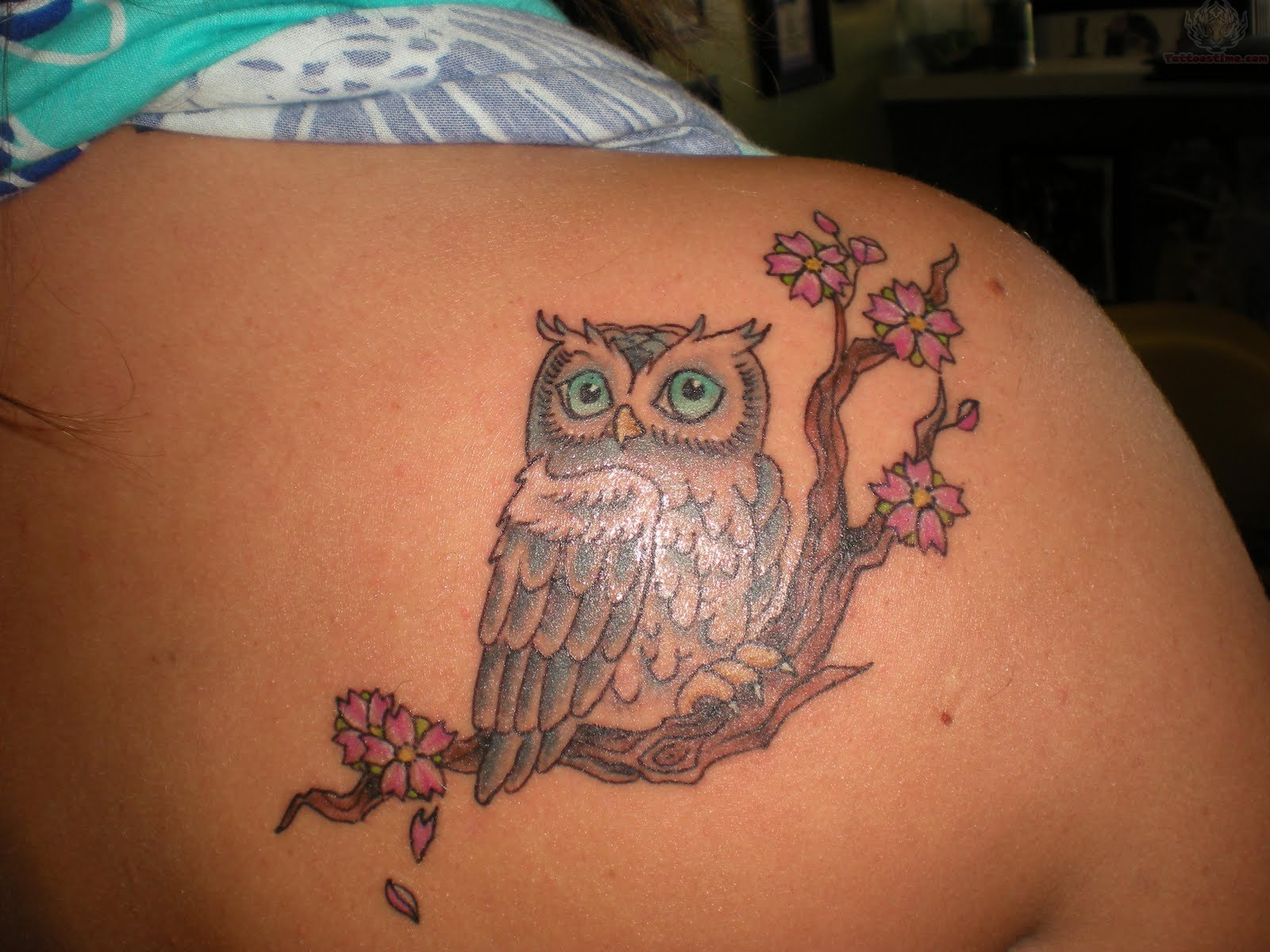Pretty Owl Tattoo On Upperback
