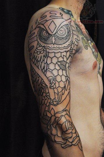 Rose And Owl Tattoo On Sleeve