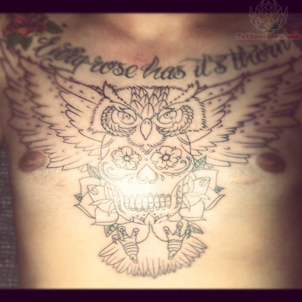 Sugar Skull And Owl Tattoo On Chest