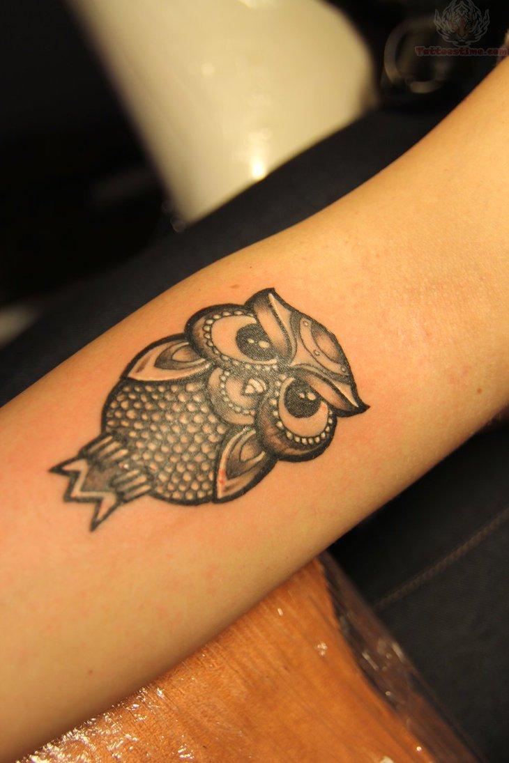 Tiny Owl Tattoo On Arm