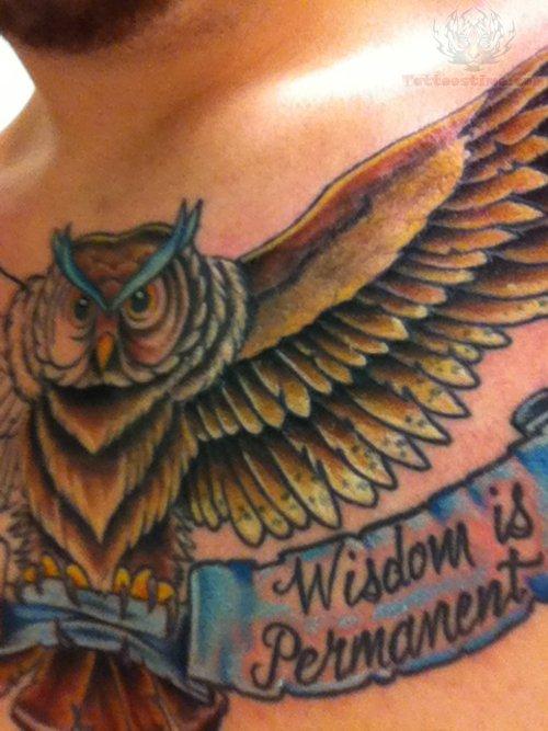 Wisdom Is Permanent Owl Tattoo