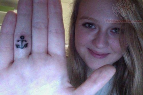 Anchor Tattoo Inside Finger