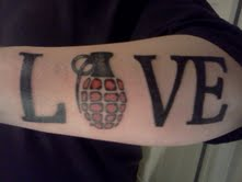 Grenade Love Tattoo On Arm