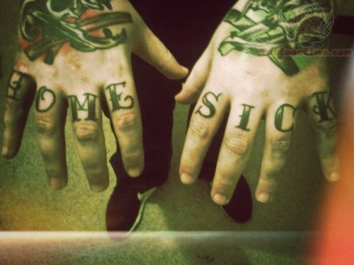 Home sick finger tattoo for Love sick tattoo