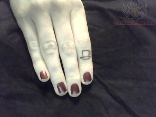 Small Tea Cup Tattoo On Finger