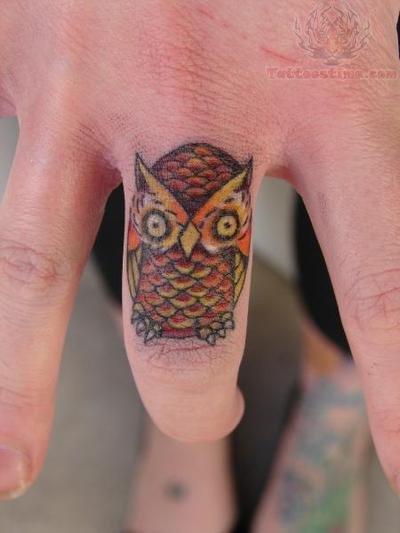 Owl Tattoo On Finger