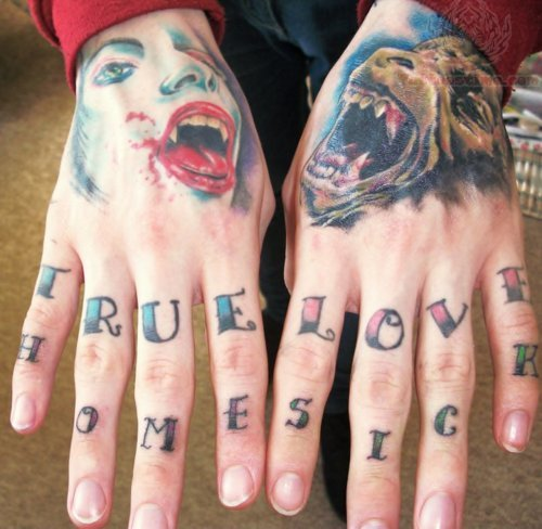 True Love & Home Sick Tattoo On Fingers