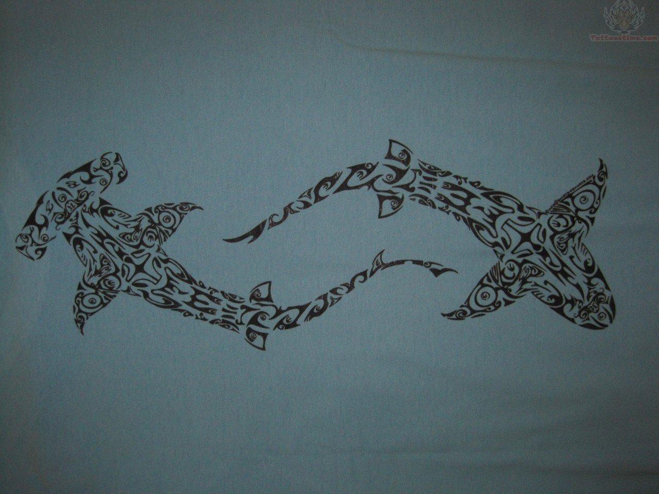 Maori hammerhead shark tattoo designs