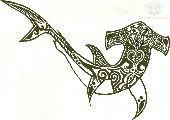 tribal hammerhead shark drawing. Black Bedroom Furniture Sets. Home Design Ideas