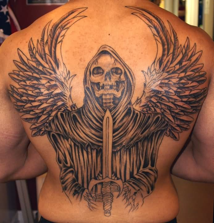 Grim Reaper Tattoo On Back