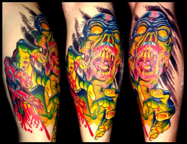 Zombie Colourfull Death Tattoo