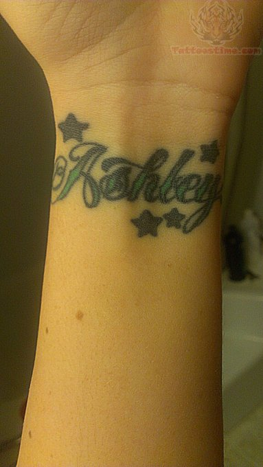 Ashley Word Tattoo On Wrist