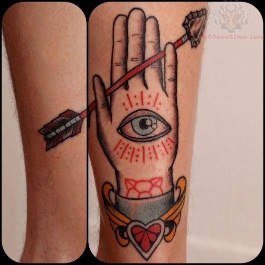 Hand Eye Symbol Tattoo Eye Hand And Arrow Tattoo