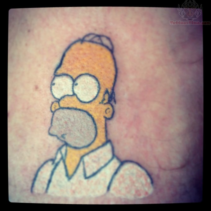 Homer simpson color cartoon tattoo for Homer simpson tattoos