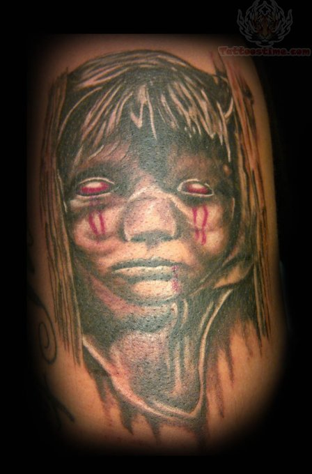 Scary Baby Girl Tattoo