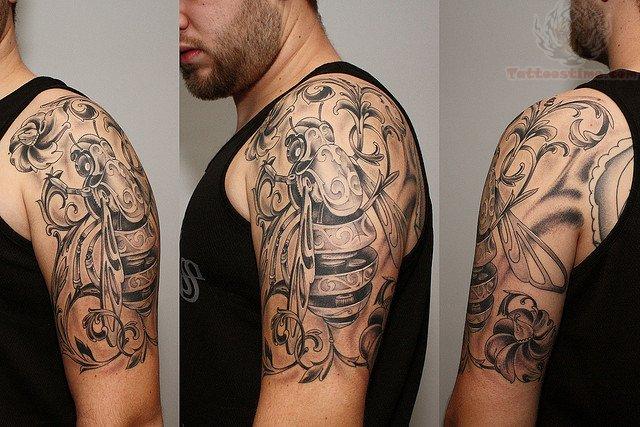 Stalker Mechanical Tattoo On Half Sleeve
