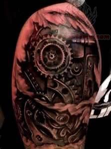 bio mechanical gears tattoo on shoulder. Black Bedroom Furniture Sets. Home Design Ideas