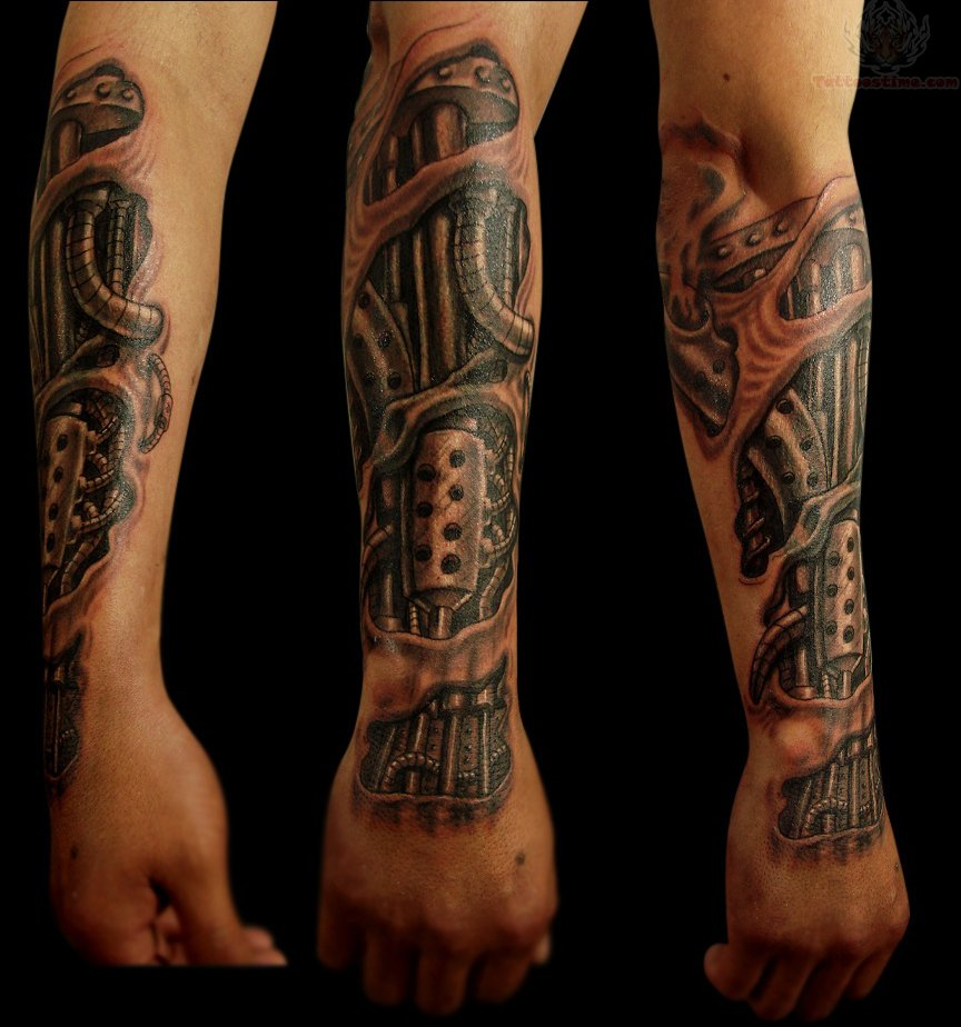 Bio mechanical tattoo for arm for Tattoos in arm