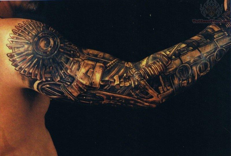 Full Sleeve Mechanical Tattoo