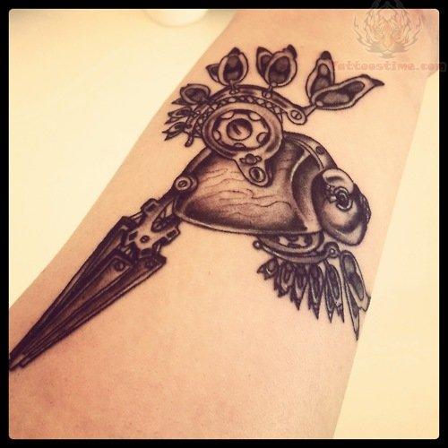 Grey Ink Mechanical Bird Tattoo On Arm