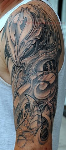 Grey Ink Mechanical Tattoo On Half Sleeve For Men