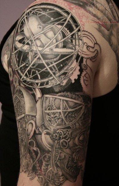 grey ink mechanical tattoo on half sleeve