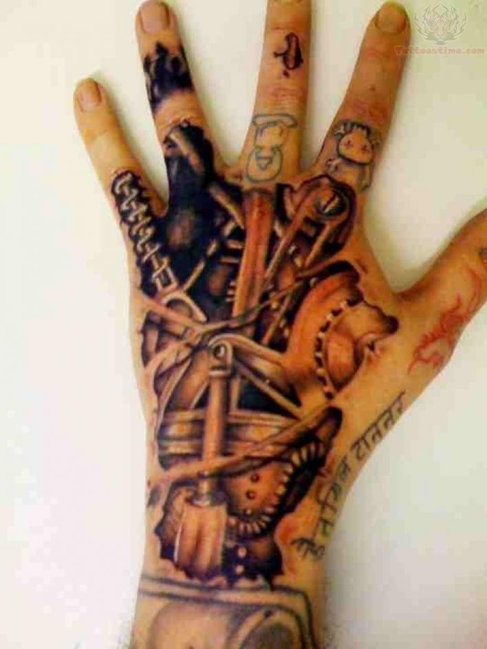 Mechanical tattoo images designs for 3d hand tattoo