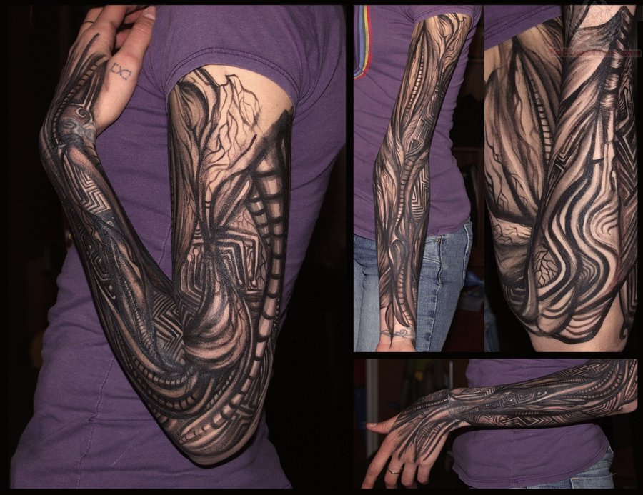 Mechanical black ink tattoo on girl sleeve for Black tattoo ink