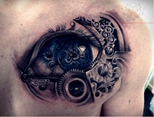 Mechanical Eye Tattoo On Chest