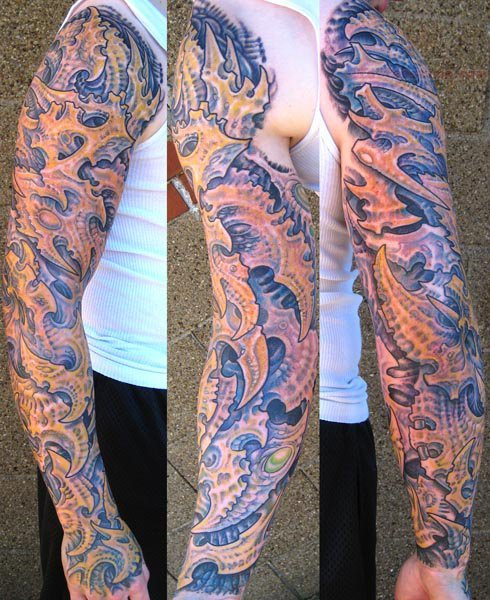 Patriotic Tattoo Sleeves Mechanical men sleeve tattoo