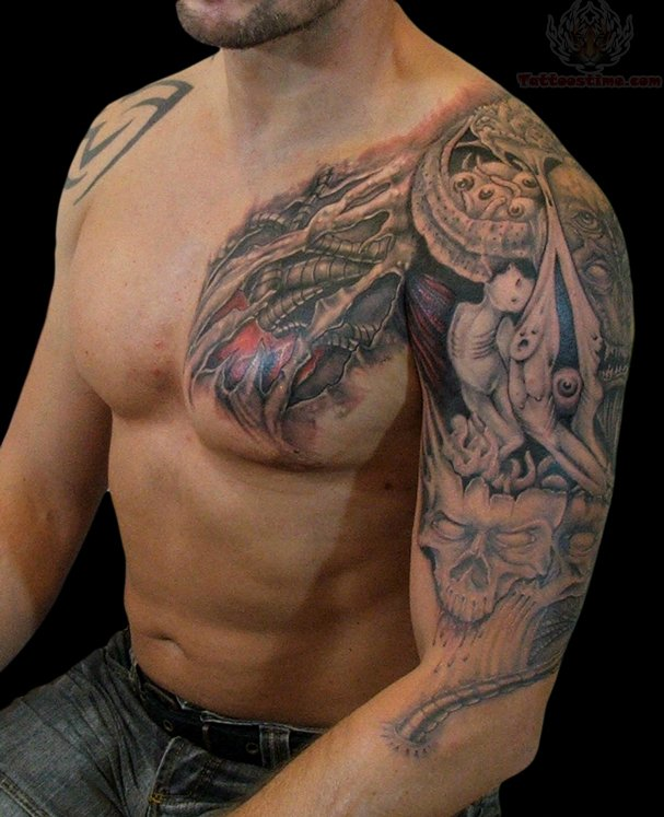 Skull Hand Mask Tattoo