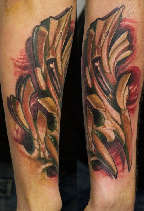 Mechanical tattoo images designs for Wing tattoo arm