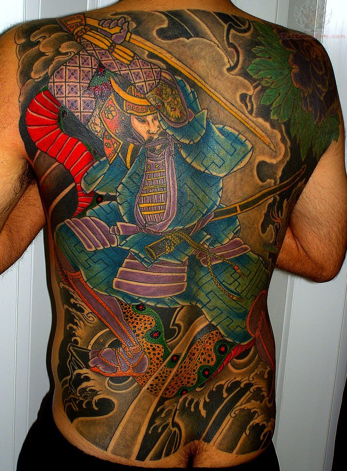 Traditional japanese samurai tattoo