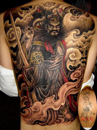 Full back samurai japanese tattoo for Oriental tattoo