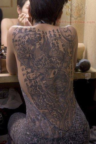 Grey ink samurai girl back tattoo for Female samurai tattoo