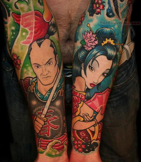 samurai and geisha tattoos on arm. Black Bedroom Furniture Sets. Home Design Ideas