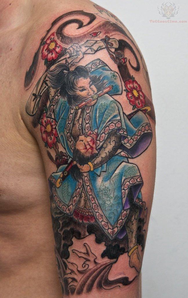 Samurai Color Ink Tattoo On Men Half Sleeve