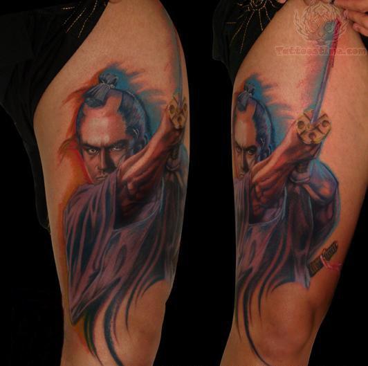 samurai color warrior tattoo on half sleeve. Black Bedroom Furniture Sets. Home Design Ideas