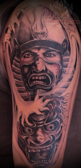 Samurai demon heads tattoos on half sleeve for Demon half sleeve tattoos