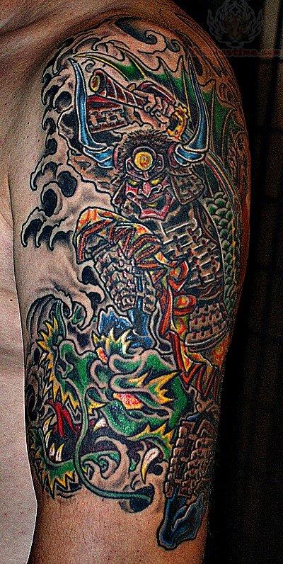 Samurai Dragon Koi Tattoo On Half Sleeve