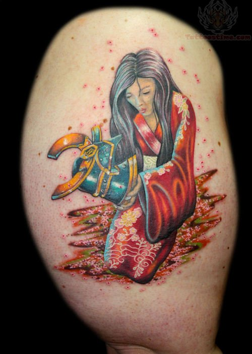 Samurai girl tattoo on muscles for Female samurai tattoo