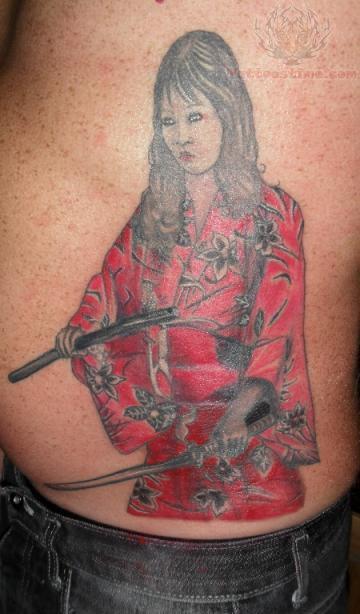 Samurai girl tattoo on side for Female samurai tattoo