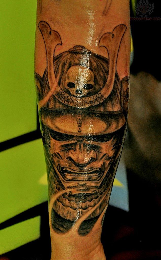 grey ink samurai tattoo on men arm. Black Bedroom Furniture Sets. Home Design Ideas