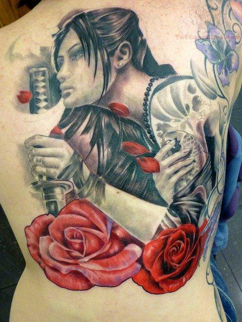 Red roses and samurai tattoo on back for Female samurai tattoo