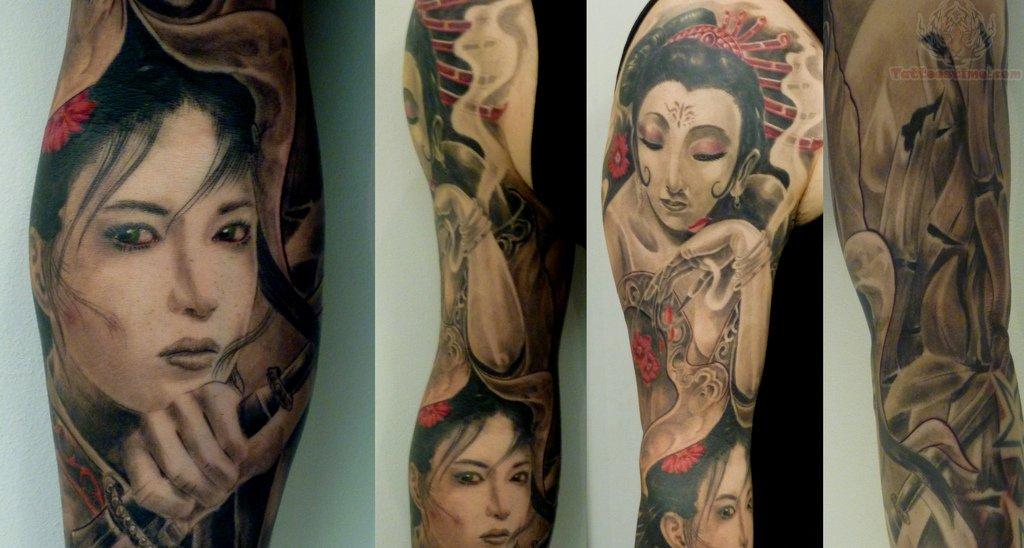 Samurai girl tattoo design on sleeve for Female samurai tattoo