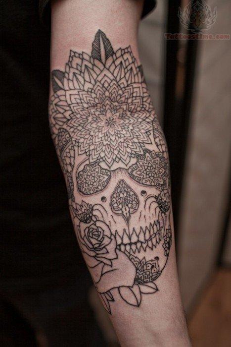 arm sugar skull tattoo. Black Bedroom Furniture Sets. Home Design Ideas
